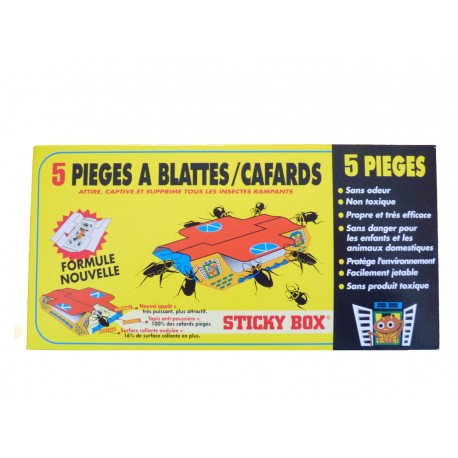 5 pièges anti-cafards STICKY BOX