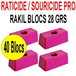 Souricide/Raticide RAKIL 1.12 kg en 40 blocs de 28grs