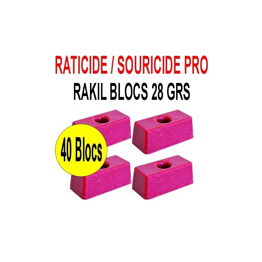 Souricide/Raticide RAKIL 40 blocs de 28grs