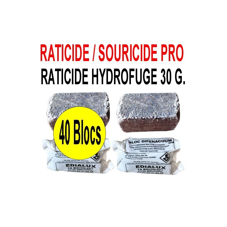 Raticide hydrofuge 1.2 Kg en 40 blocs de 30 grs