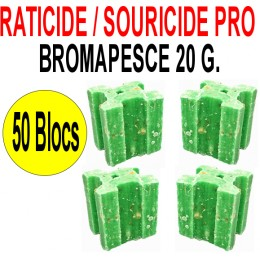 Souricide/Raticide 1 Kg en 50 blocs de 20 grs
